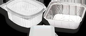 Envases de plástico y bandejas de poliexpan alimentos o alimentación